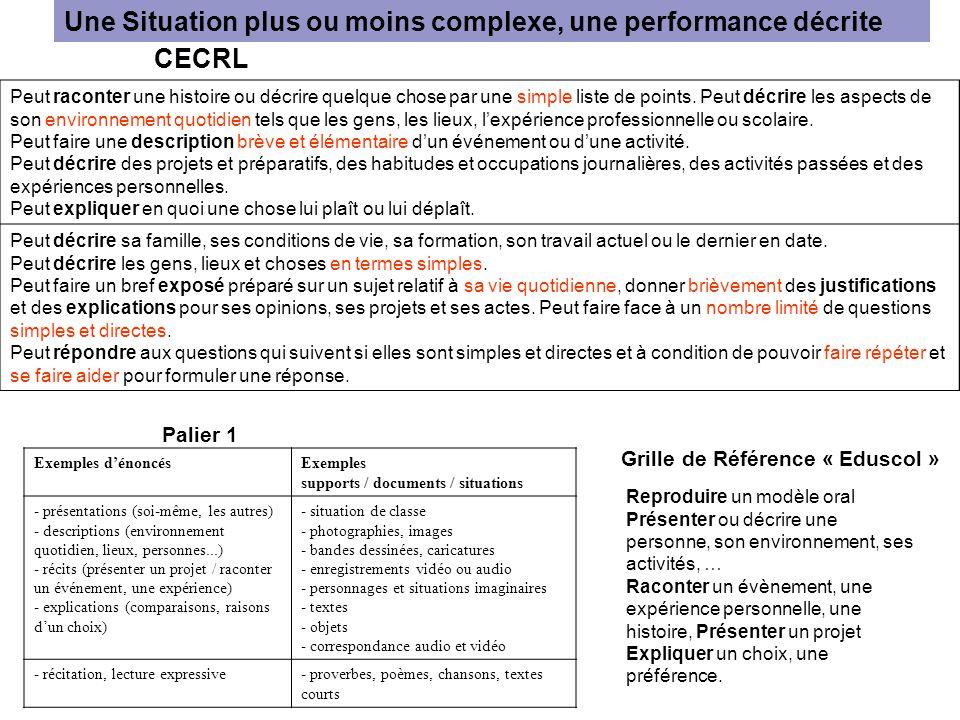 Une Situation plus ou moins complexe, une performance décrite Peut raconter une histoire ou décrire quelque chose par une simple liste de points. Peut