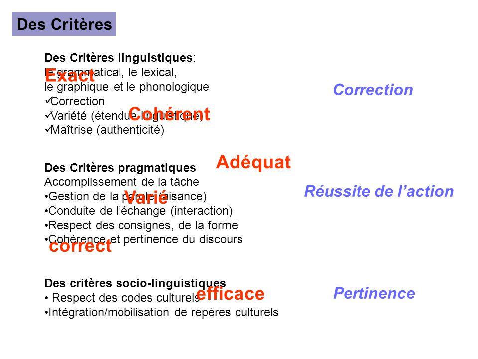 Des Critères Des Critères linguistiques: le grammatical, le lexical, le graphique et le phonologique Correction Variété (étendue linguistique) Maîtris