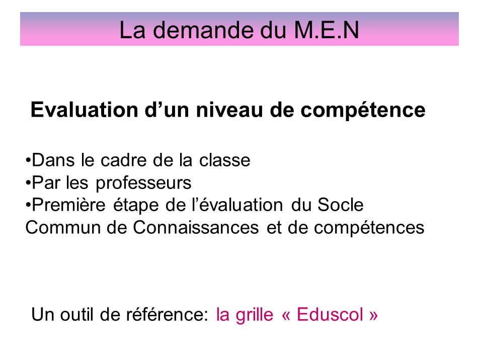 Evaluation d'un niveau de compétence Dans le cadre de la classe Par les professeurs Première étape de l'évaluation du Socle Commun de Connaissances et