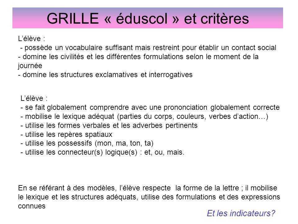 GRILLE « éduscol » et critères L'élève : - possède un vocabulaire suffisant mais restreint pour établir un contact social - domine les civilités et le
