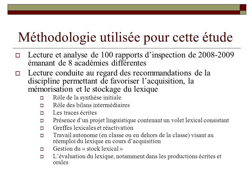 Méthodologie utilisée pour cette étude  Lecture et analyse de 100 rapports d'inspection de 2008-2009 émanant de 8 académies différentes  Lecture con