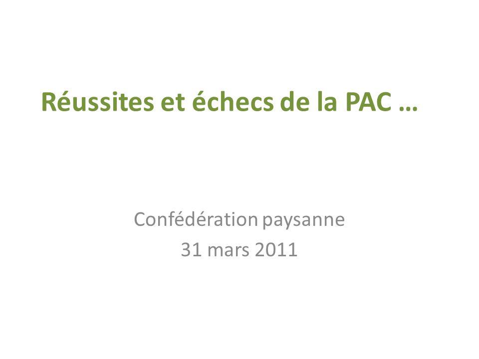 Réussites et échecs de la PAC … Confédération paysanne 31 mars 2011