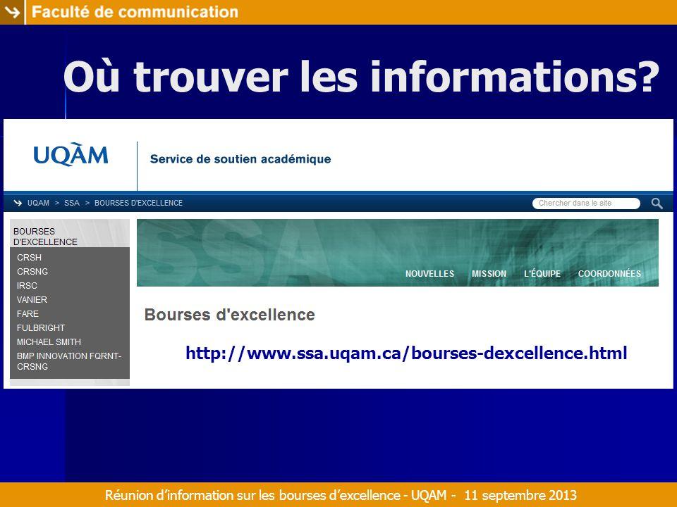 Réunion d'information sur les bourses d'excellence - UQAM - 11 septembre 2013 Où trouver les informations.