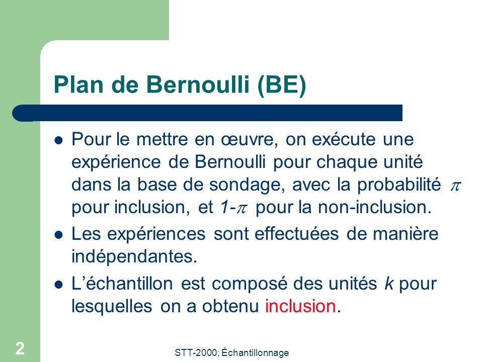 STT-2000; Échantillonnage 2 Plan de Bernoulli (BE) Pour le mettre en œuvre, on exécute une expérience de Bernoulli pour chaque unité dans la base de sondage, avec la probabilité  pour inclusion, et 1-  pour la non-inclusion.