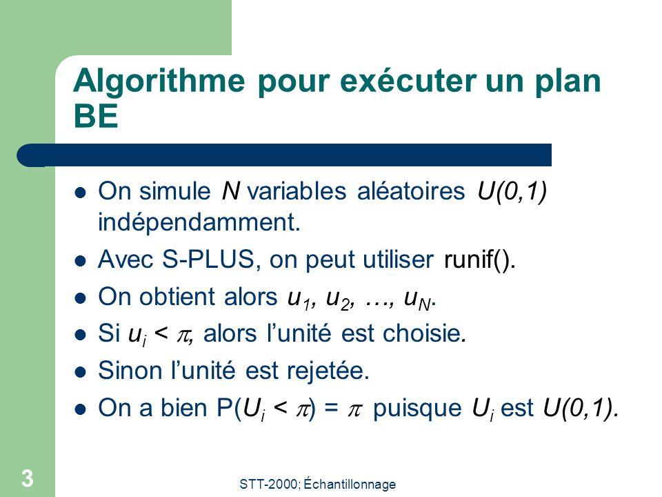 STT-2000; Échantillonnage 3 Algorithme pour exécuter un plan BE On simule N variables aléatoires U(0,1) indépendamment. Avec S-PLUS, on peut utiliser