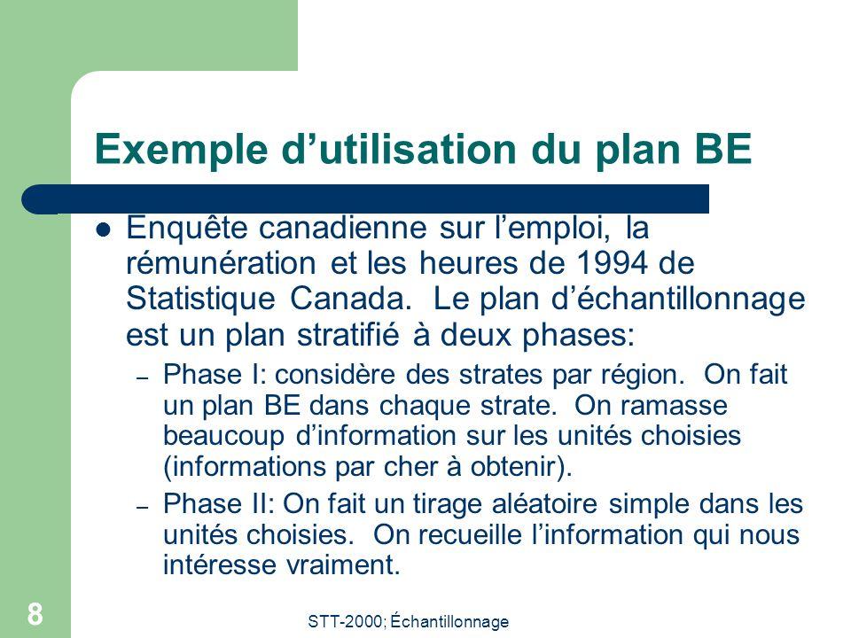 STT-2000; Échantillonnage 8 Exemple d'utilisation du plan BE Enquête canadienne sur l'emploi, la rémunération et les heures de 1994 de Statistique Canada.