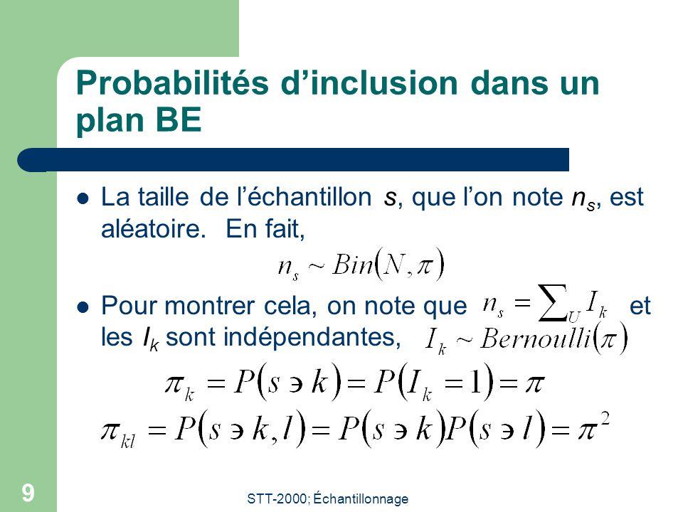 STT-2000; Échantillonnage 9 Probabilités d'inclusion dans un plan BE La taille de l'échantillon s, que l'on note n s, est aléatoire.