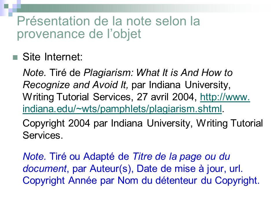 Présentation de la note selon la provenance de l'objet Site Internet: Note.