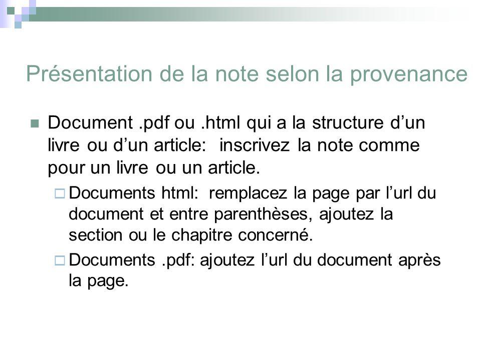 Présentation de la note selon la provenance Document.pdf ou.html qui a la structure d'un livre ou d'un article: inscrivez la note comme pour un livre ou un article.