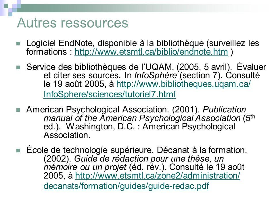 Autres ressources Logiciel EndNote, disponible à la bibliothèque (surveillez les formations : http://www.etsmtl.ca/biblio/endnote.htm )http://www.etsmtl.ca/biblio/endnote.htm Service des bibliothèques de l'UQAM.