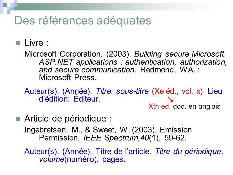 Des références adéquates Livre : Microsoft Corporation.
