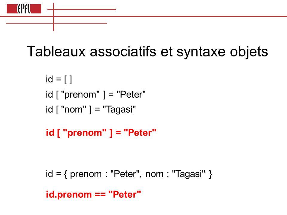 Tableaux associatifs et syntaxe objets id = [ ] id [ prenom ] = Peter id [ nom ] = Tagasi id [ prenom ] = Peter id = { prenom : Peter , nom : Tagasi } id.prenom == Peter