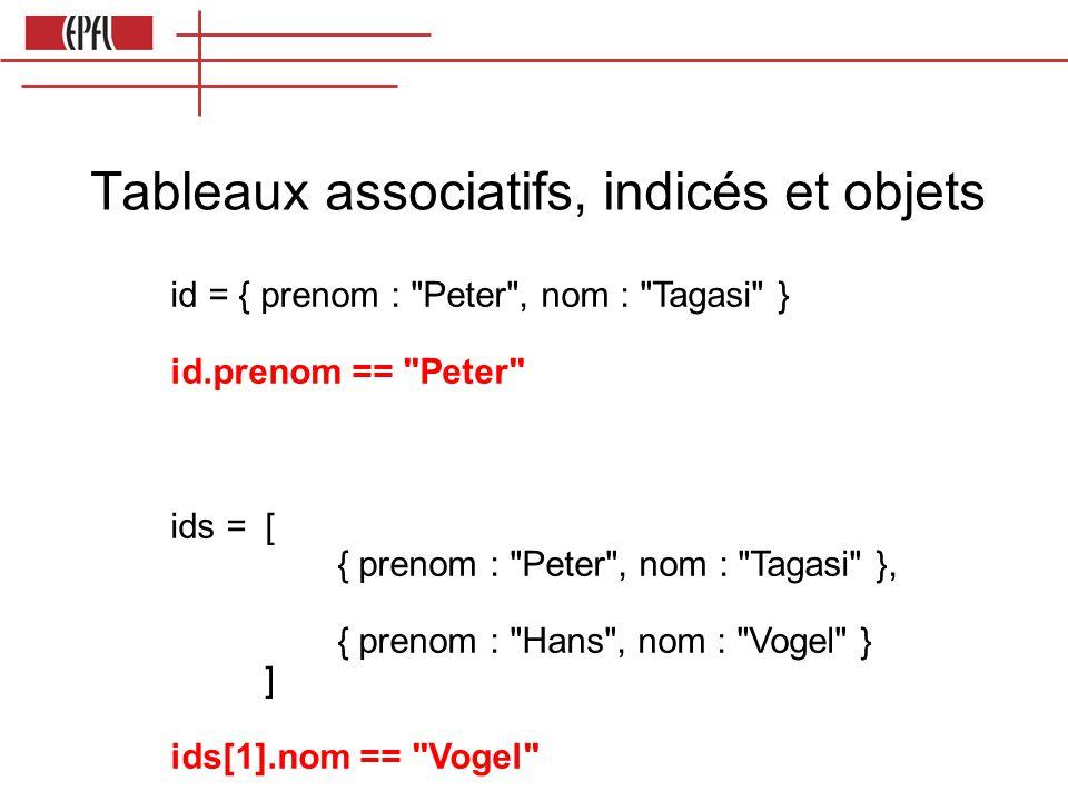 Tableaux associatifs, indicés et objets id = { prenom : Peter , nom : Tagasi } id.prenom == Peter ids =[ { prenom : Peter , nom : Tagasi }, { prenom : Hans , nom : Vogel } ] ids[1].nom == Vogel