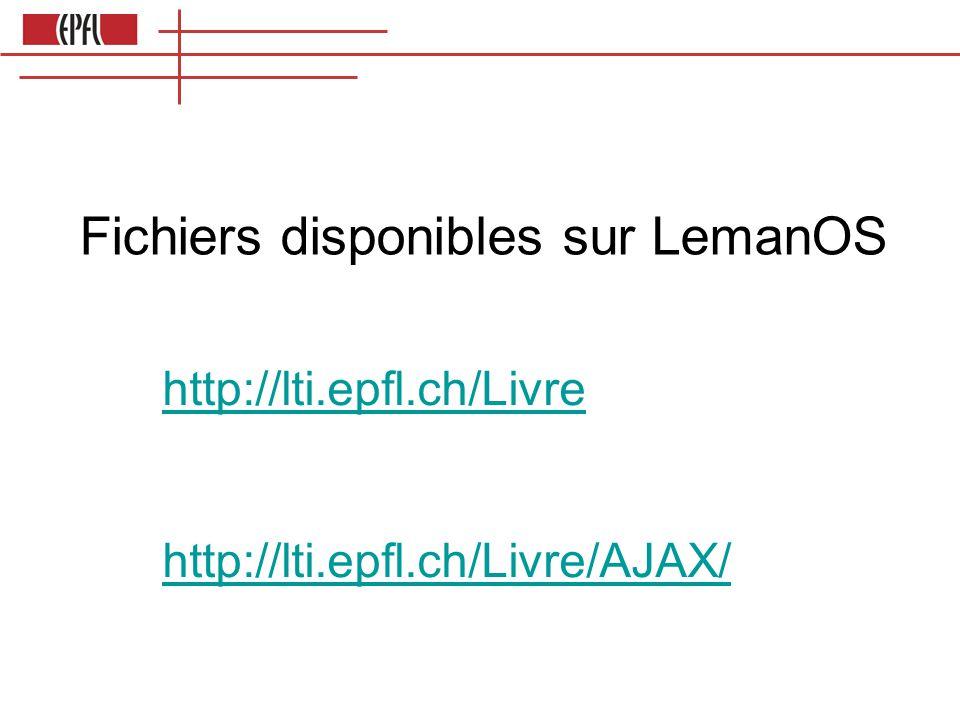 Fichiers disponibles sur LemanOS http://lti.epfl.ch/Livre http://lti.epfl.ch/Livre/AJAX/