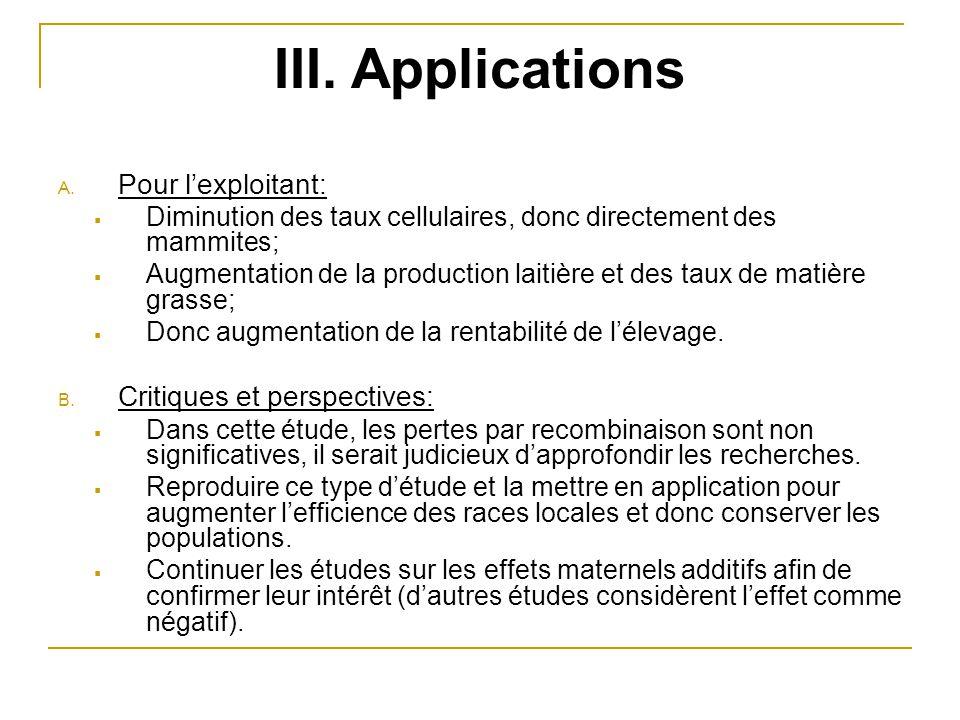 III. Applications A. Pour l'exploitant:  Diminution des taux cellulaires, donc directement des mammites;  Augmentation de la production laitière et