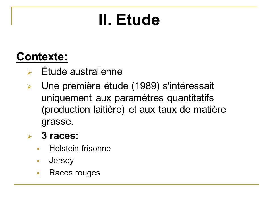 II. Etude Contexte:  Étude australienne  Une première étude (1989) s'intéressait uniquement aux paramètres quantitatifs (production laitière) et aux
