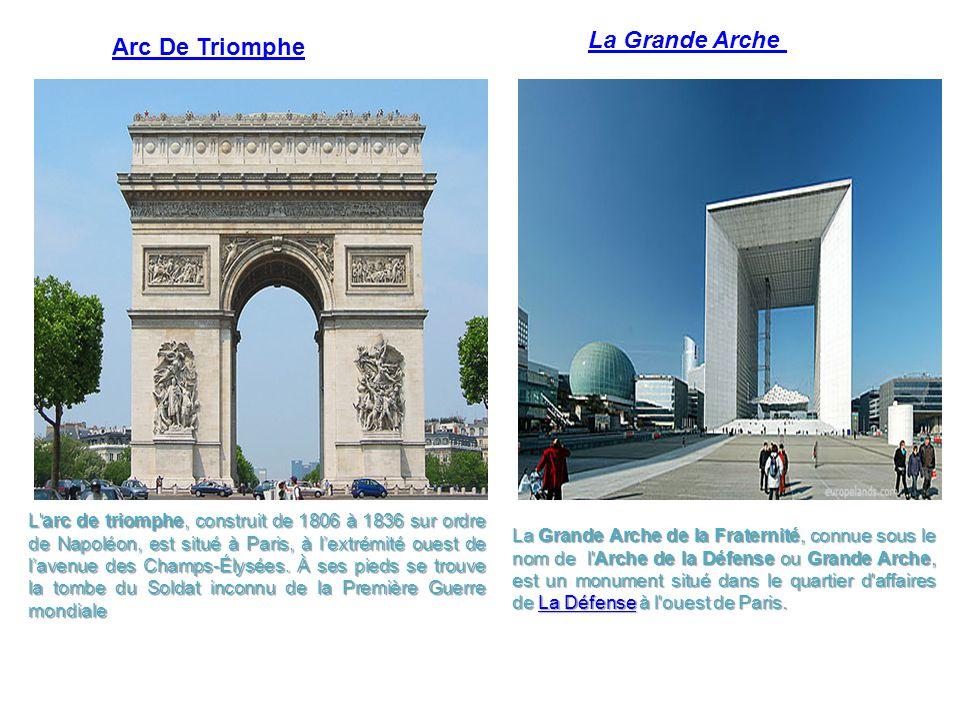 Arc De Triomphe La Grande Arche de la Fraternité, connue sous le nom de l'Arche de la Défense ou Grande Arche, est un monument situé dans le quartier