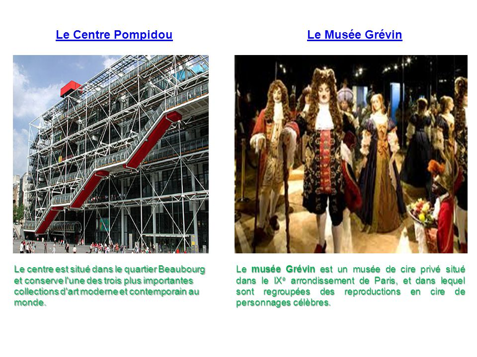 Le Centre Pompidou Le centre est situé dans le quartier Beaubourg et conserve l'une des trois plus importantes collections d'art moderne et contempora