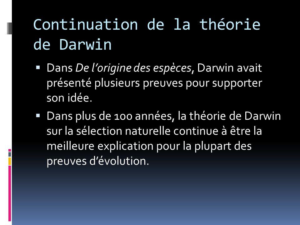 Continuation de la théorie de Darwin  Dans De l'origine des espèces, Darwin avait présenté plusieurs preuves pour supporter son idée.