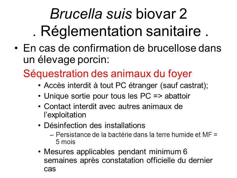 En cas de confirmation de brucellose dans un élevage porcin: Séquestration des animaux du foyer Accès interdit à tout PC étranger (sauf castrat); Uniq