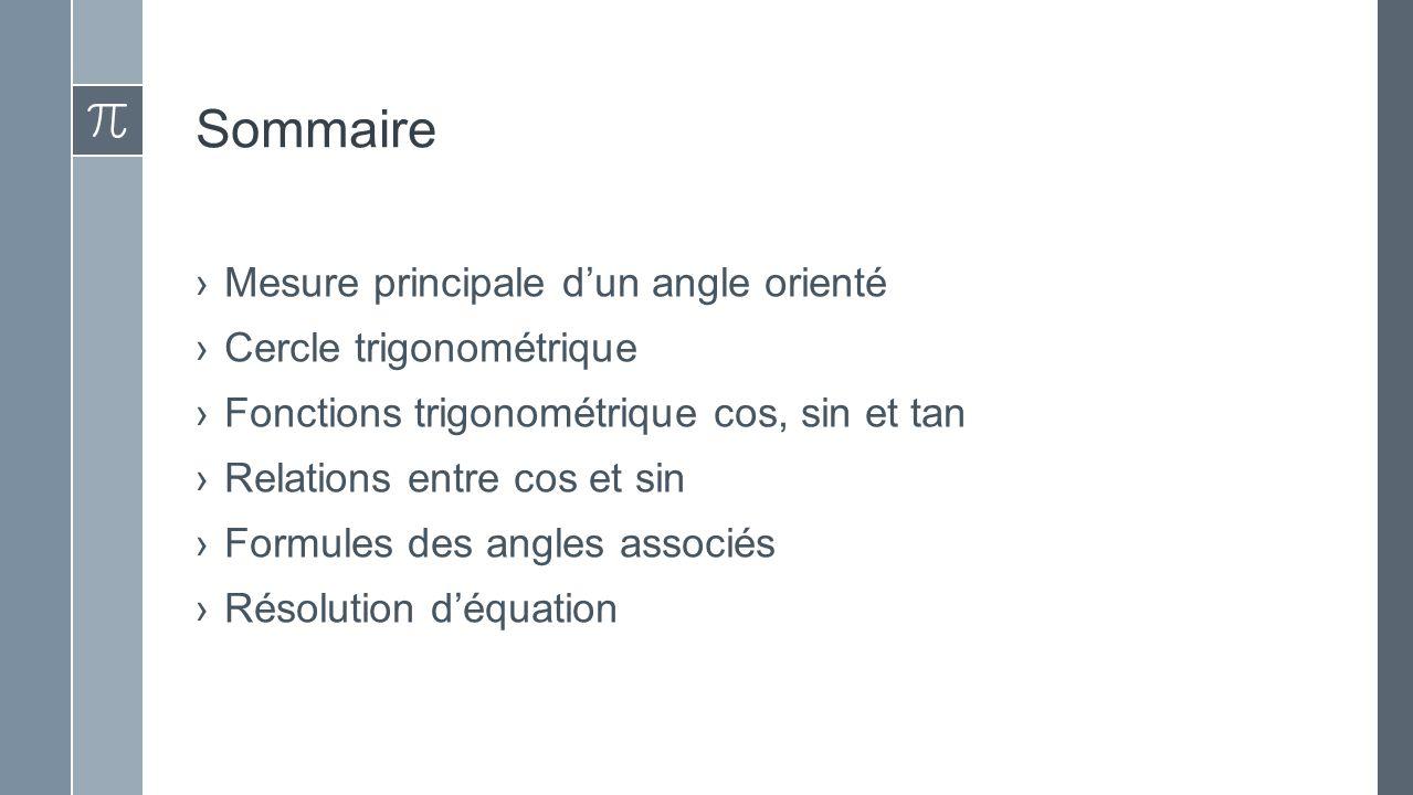 Sommaire ›Mesure principale d'un angle orienté ›Cercle trigonométrique ›Fonctions trigonométrique cos, sin et tan ›Relations entre cos et sin ›Formules des angles associés ›Résolution d'équation