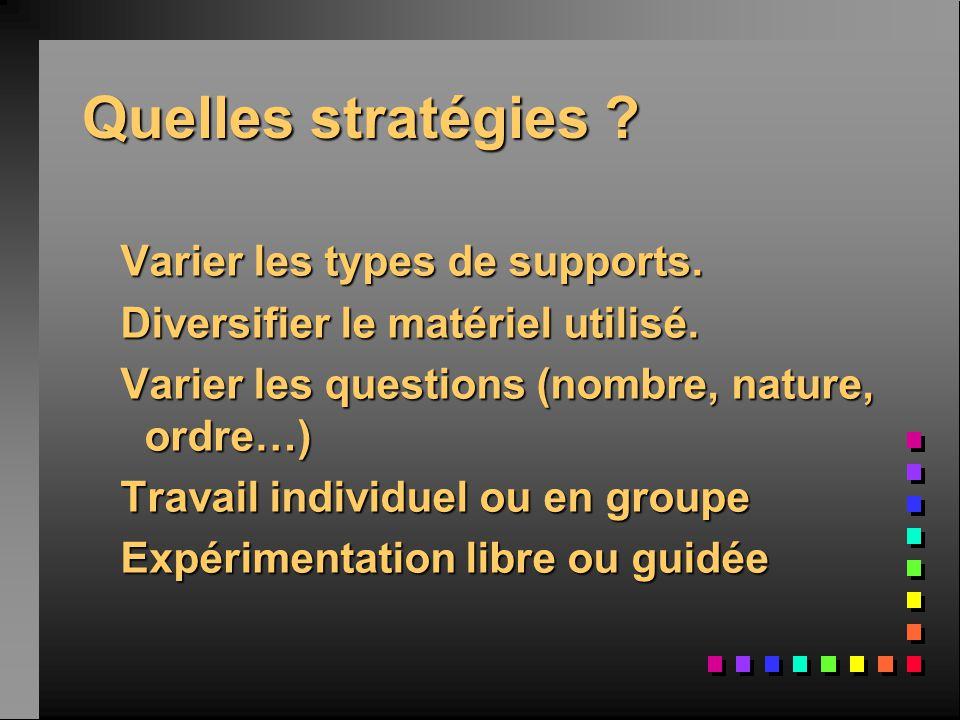 Quelles stratégies ? Varier les types de supports. Varier les types de supports. Diversifier le matériel utilisé. Diversifier le matériel utilisé. Var