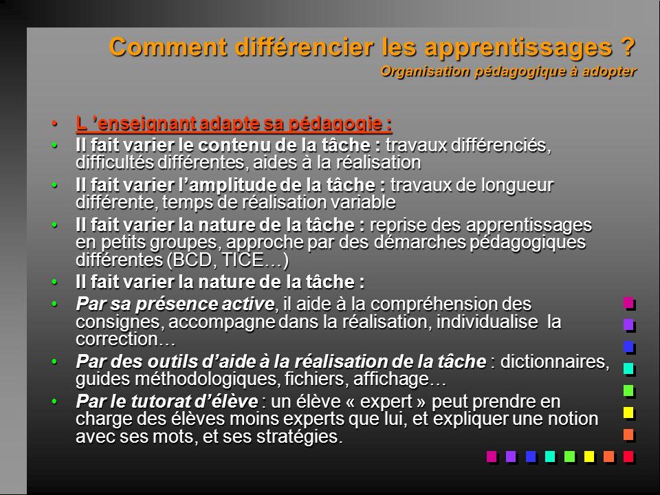 Comment différencier les apprentissages ? Organisation pédagogique à adopter L 'enseignant adapte sa pédagogie :L 'enseignant adapte sa pédagogie : Il