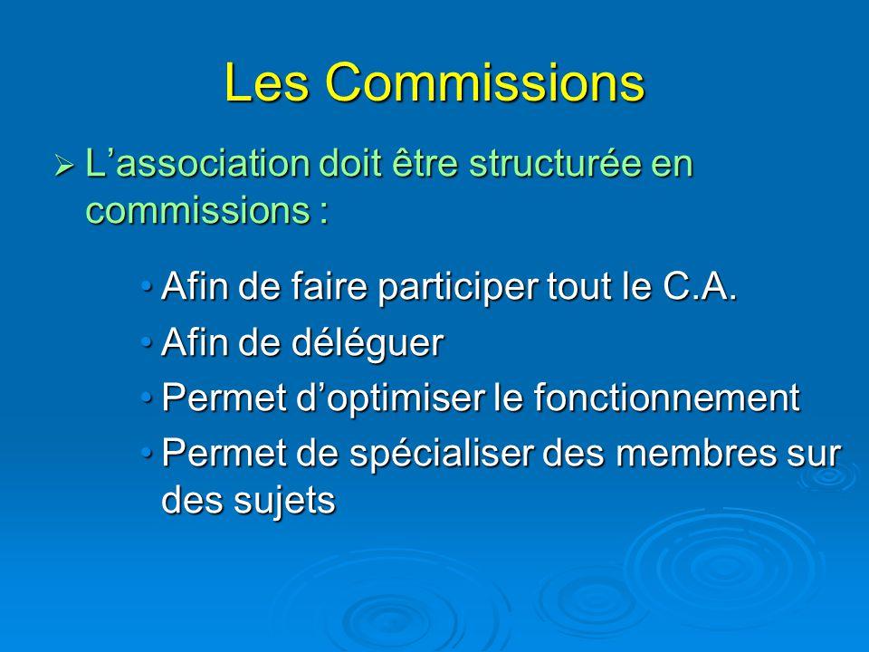 Les Commissions  L'association doit être structurée en commissions : Afin de faire participer tout le C.A.Afin de faire participer tout le C.A. Afin