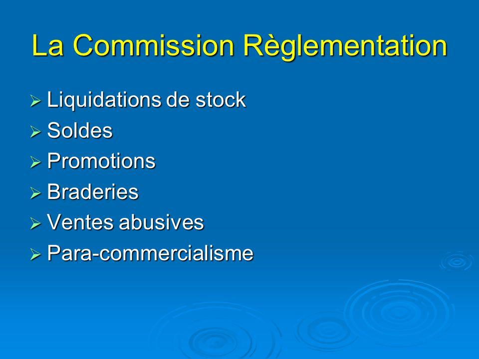 La Commission Règlementation  Liquidations de stock  Soldes  Promotions  Braderies  Ventes abusives  Para-commercialisme