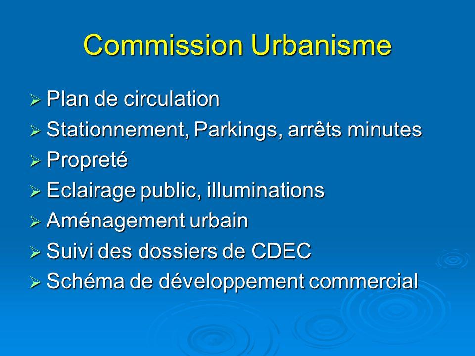 Commission Urbanisme  Plan de circulation  Stationnement, Parkings, arrêts minutes  Propreté  Eclairage public, illuminations  Aménagement urbain