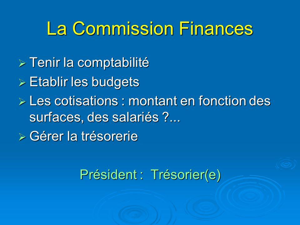 La Commission Finances  Tenir la comptabilité  Etablir les budgets  Les cotisations : montant en fonction des surfaces, des salariés ?...  Gérer l