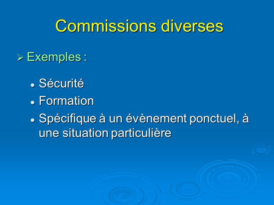 Commissions diverses Commissions diverses  Exemples : Sécurité Sécurité Formation Formation Spécifique à un évènement ponctuel, à une situation parti