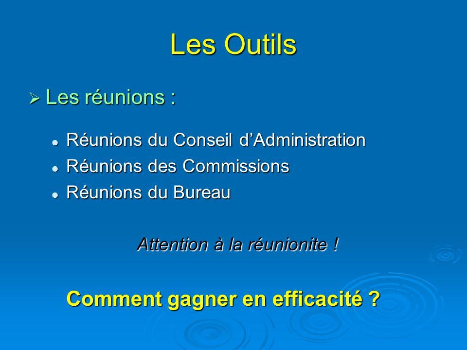 Les Outils  Les réunions : Réunions du Conseil d'Administration Réunions du Conseil d'Administration Réunions des Commissions Réunions des Commission