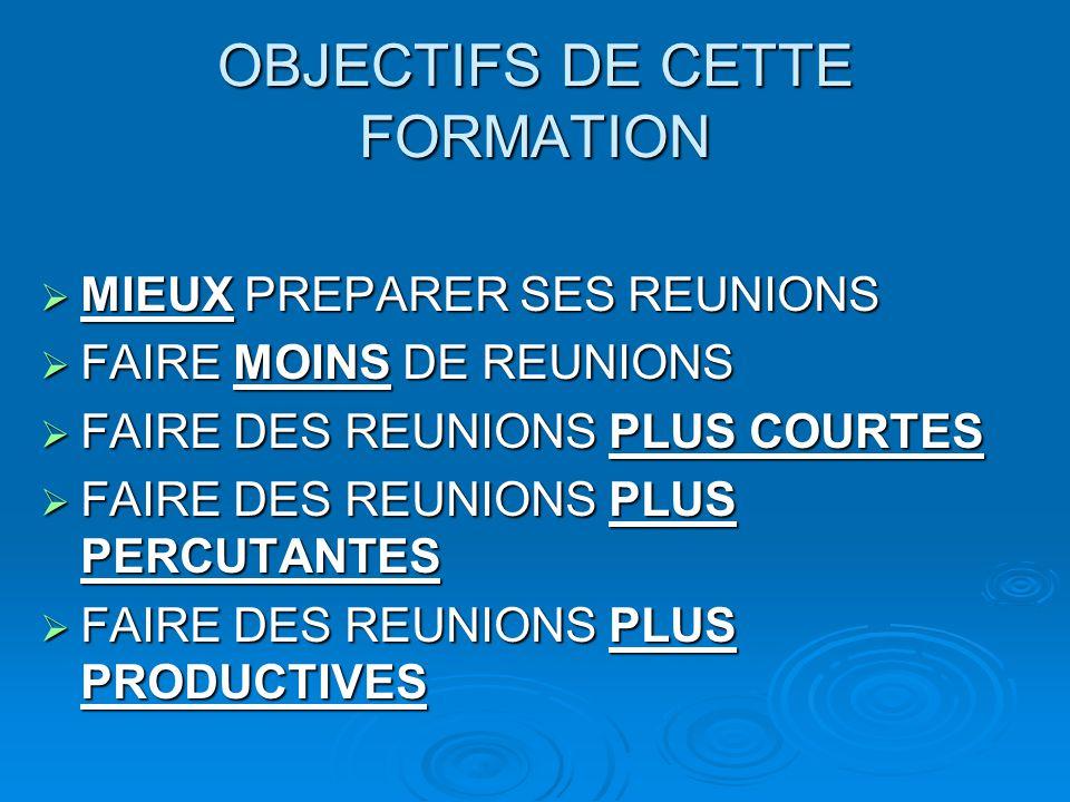 OBJECTIFS DE CETTE FORMATION  MIEUX PREPARER SES REUNIONS  FAIRE MOINS DE REUNIONS  FAIRE DES REUNIONS PLUS COURTES  FAIRE DES REUNIONS PLUS PERCU