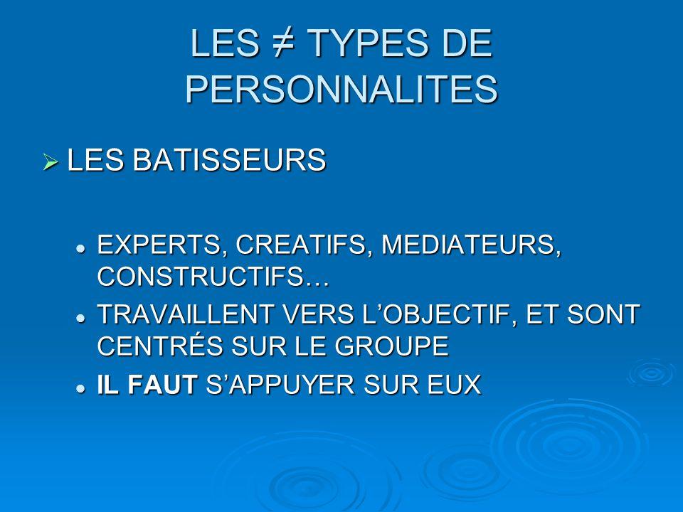 LES ≠ TYPES DE PERSONNALITES  LES BATISSEURS EXPERTS, CREATIFS, MEDIATEURS, CONSTRUCTIFS… EXPERTS, CREATIFS, MEDIATEURS, CONSTRUCTIFS… TRAVAILLENT VE