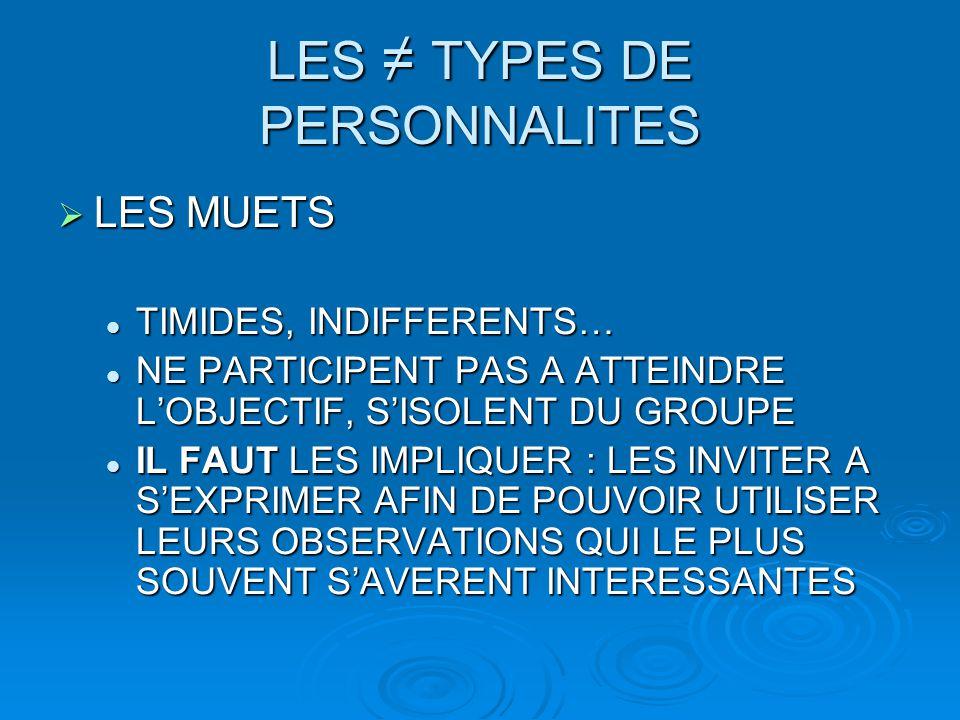LES ≠ TYPES DE PERSONNALITES  LES MUETS TIMIDES, INDIFFERENTS… TIMIDES, INDIFFERENTS… NE PARTICIPENT PAS A ATTEINDRE L'OBJECTIF, S'ISOLENT DU GROUPE