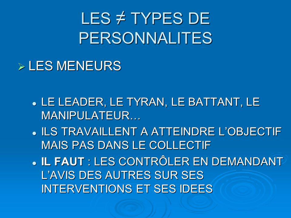LES ≠ TYPES DE PERSONNALITES  LES MENEURS LE LEADER, LE TYRAN, LE BATTANT, LE MANIPULATEUR… LE LEADER, LE TYRAN, LE BATTANT, LE MANIPULATEUR… ILS TRA