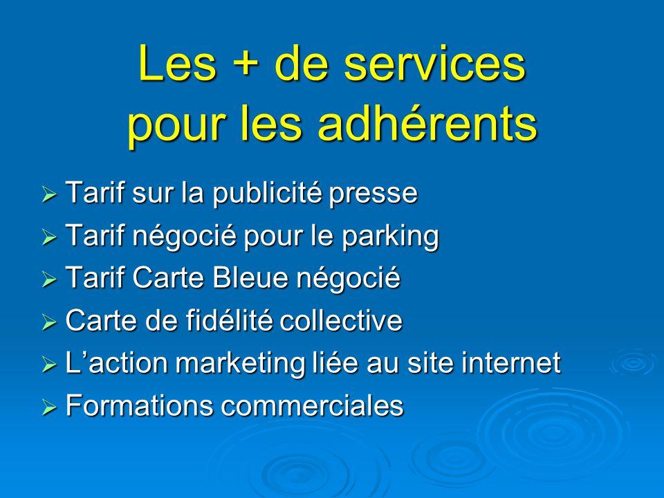 Les + de services pour les adhérents  Tarif sur la publicité presse  Tarif négocié pour le parking  Tarif Carte Bleue négocié  Carte de fidélité c