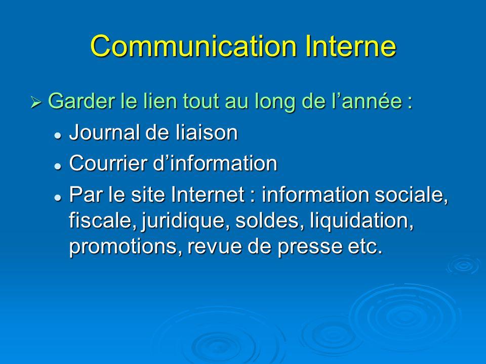 Communication Interne  Garder le lien tout au long de l'année : Journal de liaison Journal de liaison Courrier d'information Courrier d'information P