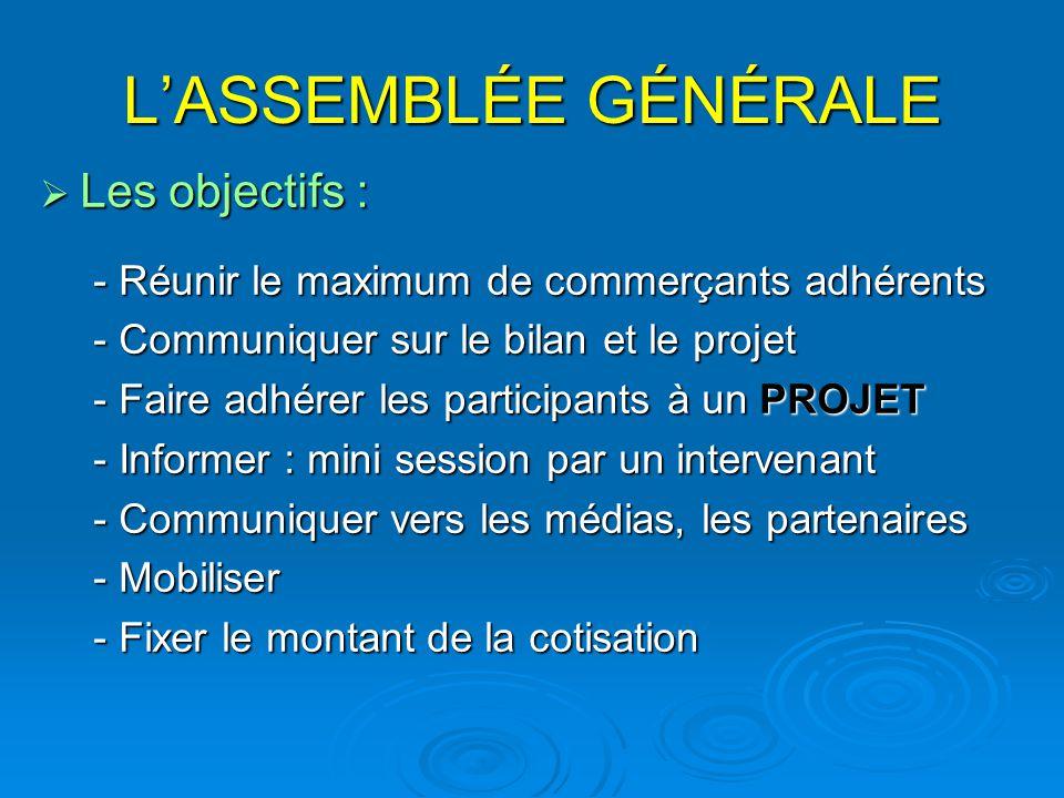 L'ASSEMBLÉE GÉNÉRALE  Les objectifs : - Réunir le maximum de commerçants adhérents - Communiquer sur le bilan et le projet - Faire adhérer les partic