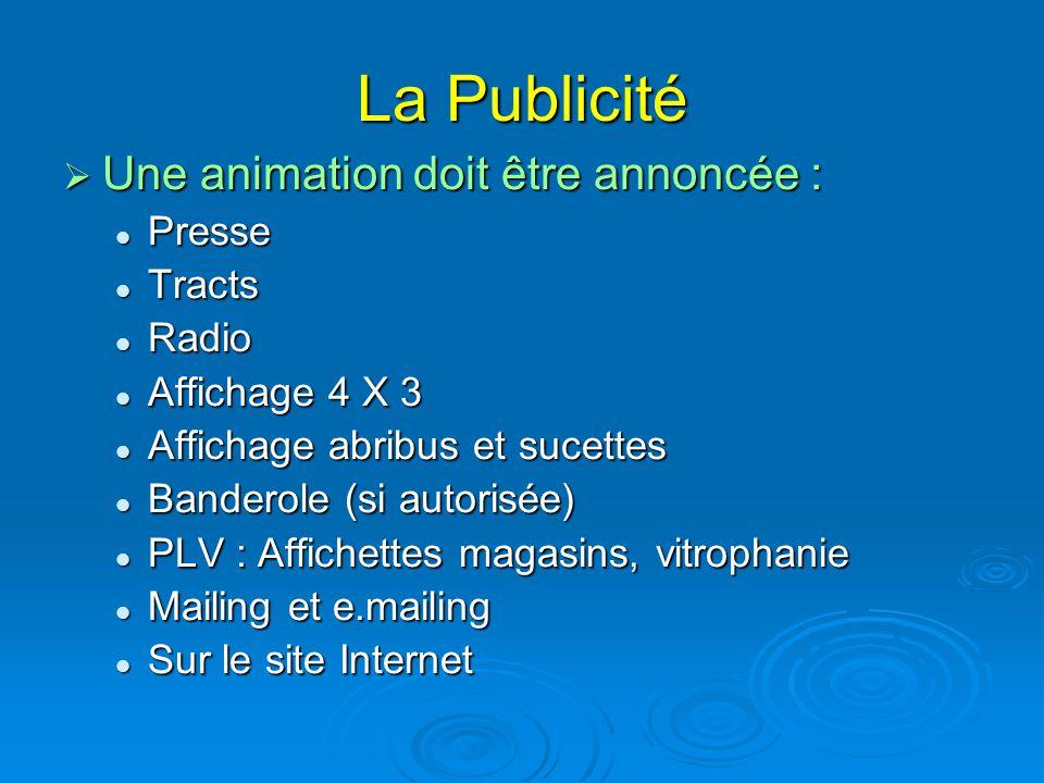 La Publicité  Une animation doit être annoncée : Presse Presse Tracts Tracts Radio Radio Affichage 4 X 3 Affichage 4 X 3 Affichage abribus et sucette