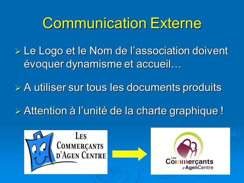 Communication Externe  Le Logo et le Nom de l'association doivent évoquer dynamisme et accueil…  A utiliser sur tous les documents produits  Attent