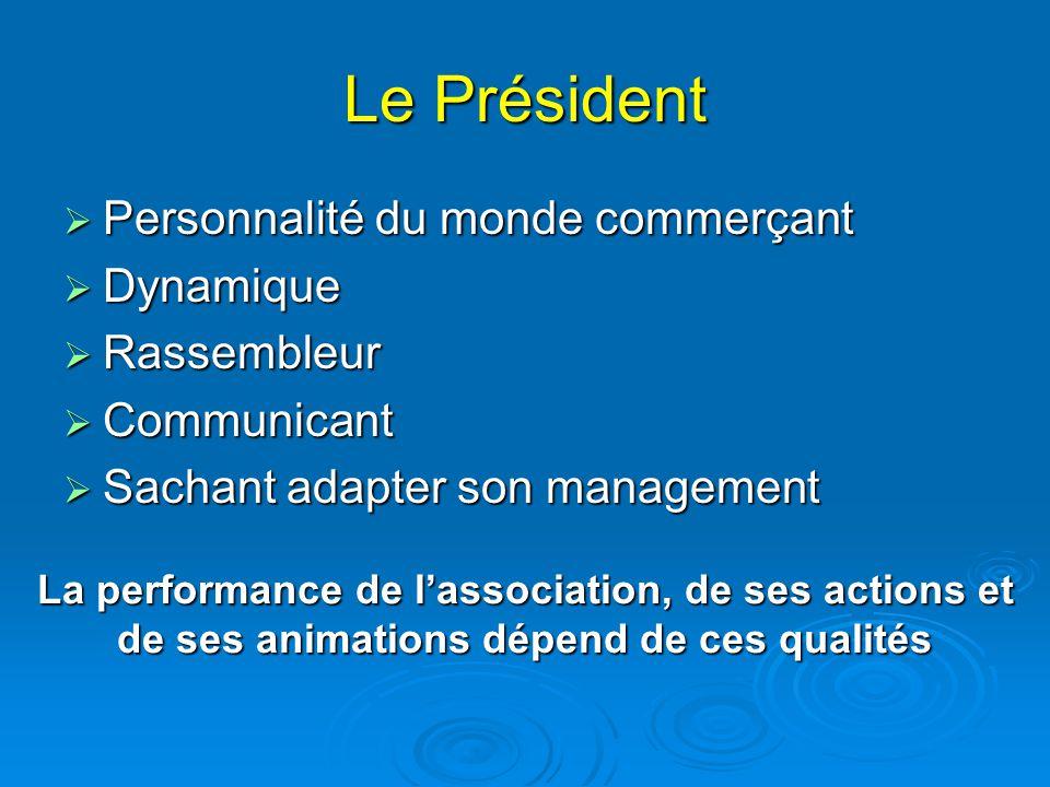 Le Président  Personnalité du monde commerçant  Dynamique  Rassembleur  Communicant  Sachant adapter son management La performance de l'associati