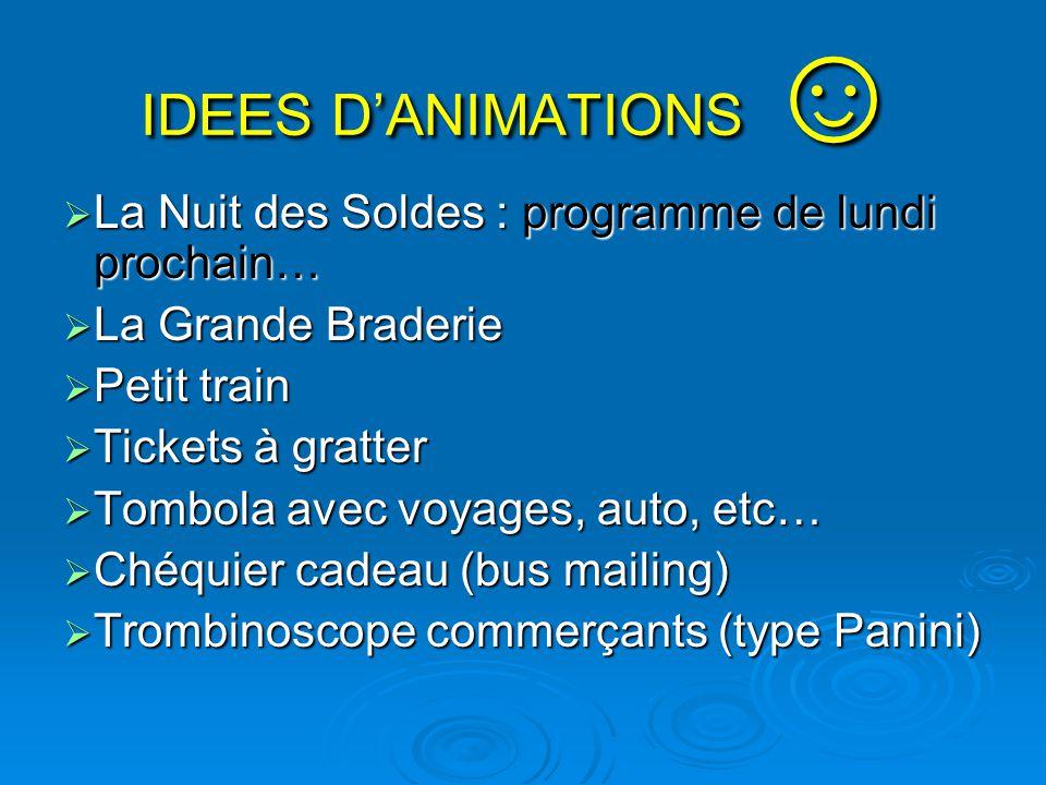 IDEES D'ANIMATIONS ☺  La Nuit des Soldes : programme de lundi prochain…  La Grande Braderie  Petit train  Tickets à gratter  Tombola avec voyages