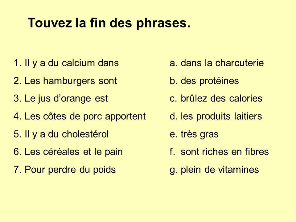 Touvez la fin des phrases. 1.Il y a du calcium dans 2.Les hamburgers sont 3.Le jus d'orange est 4.Les côtes de porc apportent 5.Il y a du cholestérol