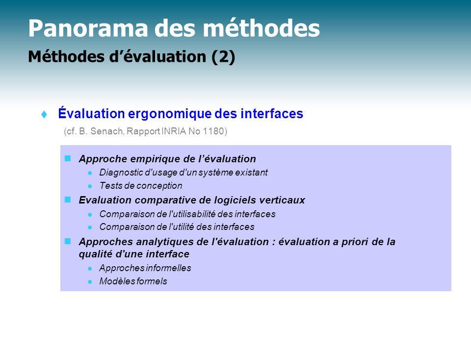 Panorama des méthodes Méthodes d'évaluation (2)  Évaluation ergonomique des interfaces (cf.