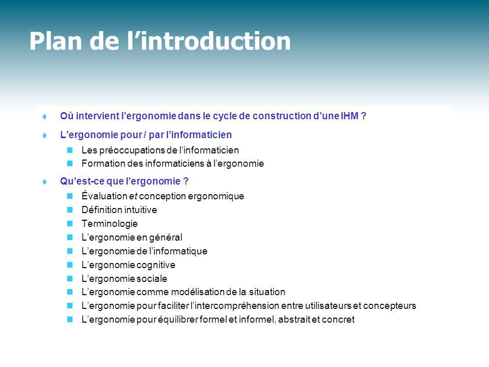 Plan de l'introduction  Où intervient l'ergonomie dans le cycle de construction d'une IHM .