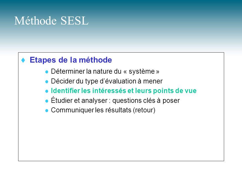 Méthode SESL  Etapes de la méthode Déterminer la nature du « système » Décider du type d'évaluation à mener Identifier les intéressés et leurs points de vue Étudier et analyser : questions clés à poser Communiquer les résultats (retour)