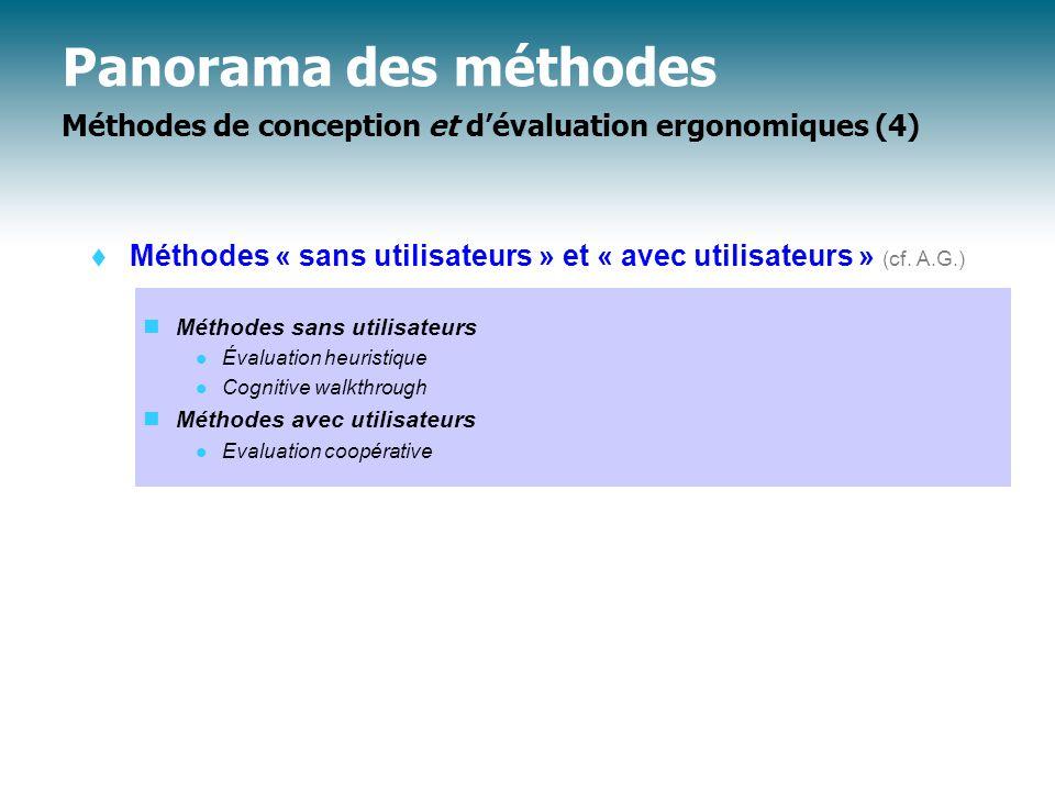 Panorama des méthodes Méthodes de conception et d'évaluation ergonomiques (4)  Méthodes « sans utilisateurs » et « avec utilisateurs » (cf.