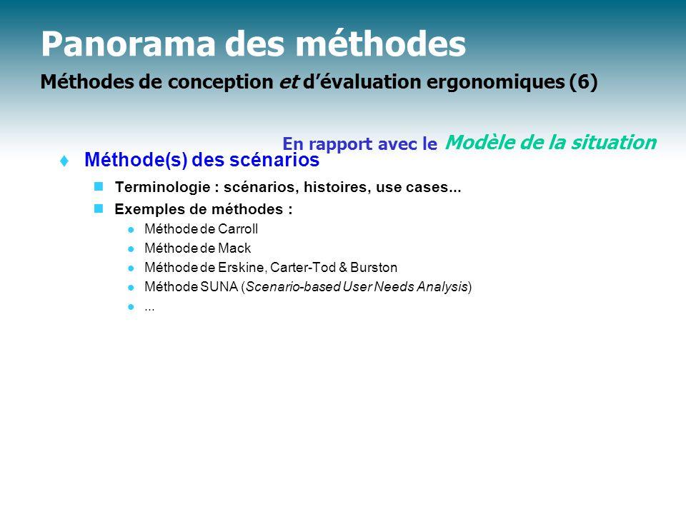 Panorama des méthodes Méthodes de conception et d'évaluation ergonomiques (6)  Méthode(s) des scénarios Terminologie : scénarios, histoires, use cases...